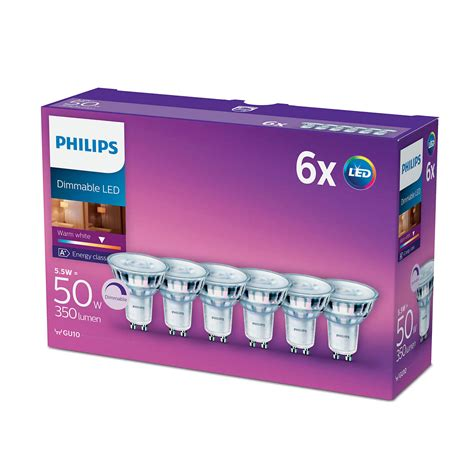 Lu Philips Warm White 6pk philips led glass 50w a gu10 dimmable spot light bulb