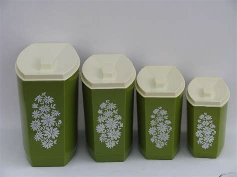 plastic kitchen canisters 60s green white flowers vintage plastic kitchen