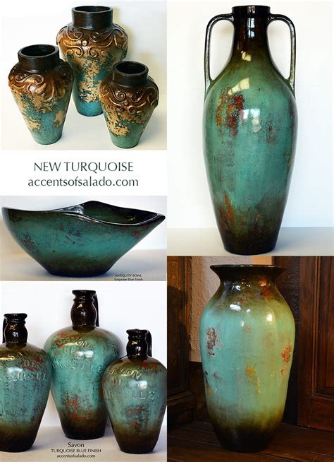 tuscan vases home decor tuscan old world vases in turquoise blue perfect for