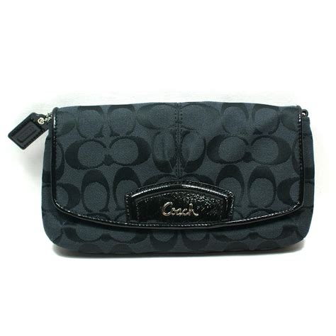Clucth Coach coach signature large flap wristlet clutch black 48127 coach 48127