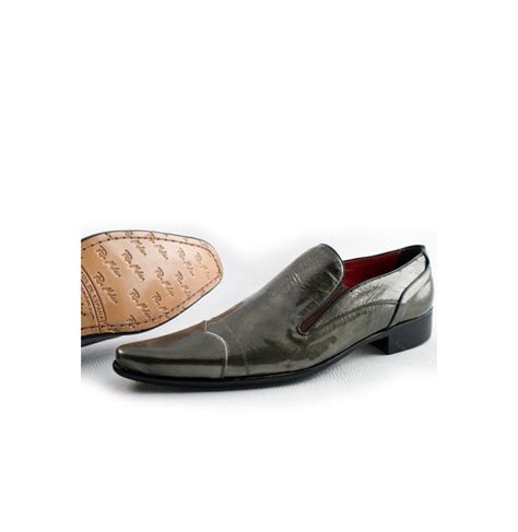 grey leather loafers with pointed tips lead colour leather