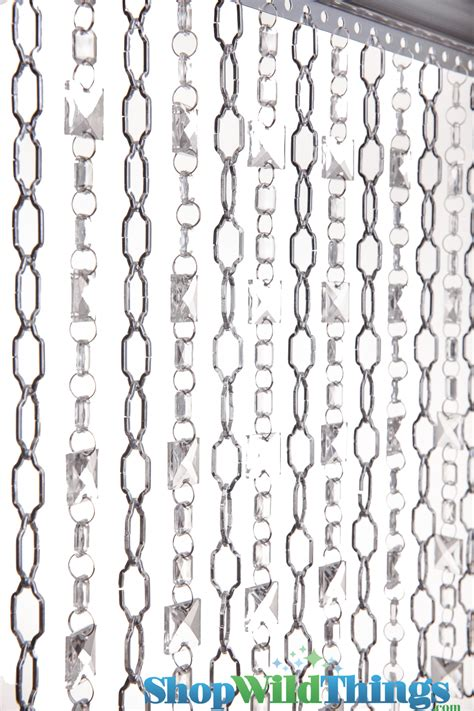 chainmail curtain beaded curtain geometric silver chain with crystal squares
