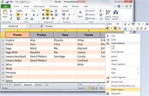 membuat drop down list menu excel tutorial cara membuat drop down list dependent