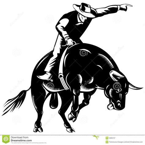 cowboy bull riding stock illustration illustration of
