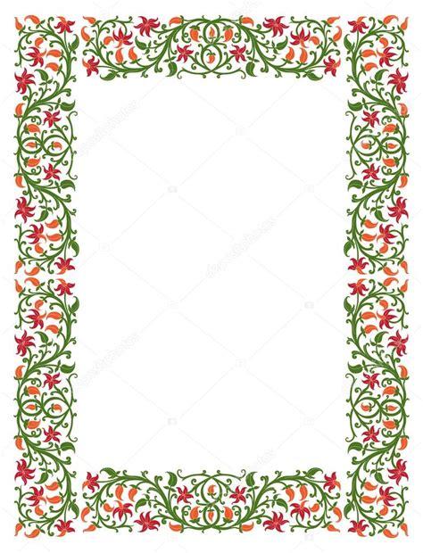 cornici medievali folios con bordes decorados marco floral en estilo
