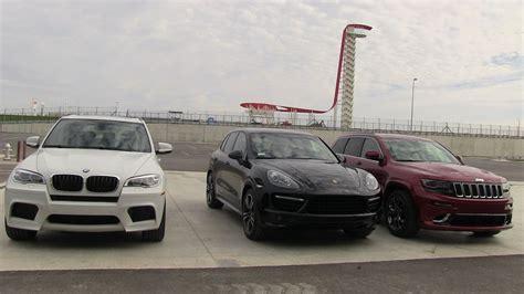 porsche jeep 2014 2014 jeep grand cherokee srt vs bmw x5 m vs porsche