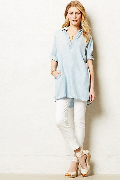 Diandra Chambray Tunic Shirt dotted chambray tunic anthropologie would this with my white clothing