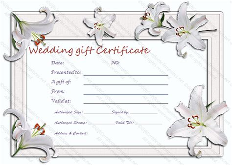 wedding gift certificate template printable wedding gift certificate gift certificate