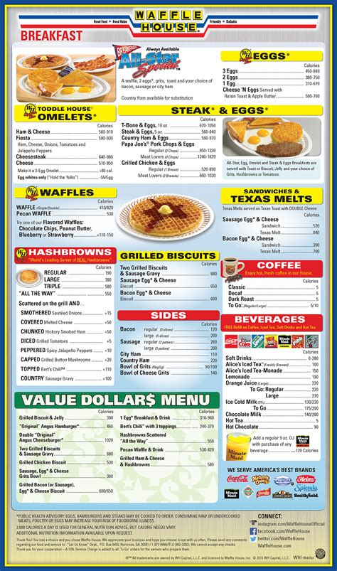 waffle house menu nutrition waffle house menu waffle house