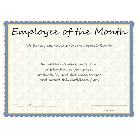employee award certificate templates free employee of the month award
