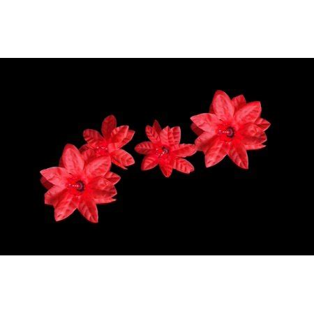clear poinsetta holiday flower xmas lights set of 20 poinsettia flower lights green wire walmart