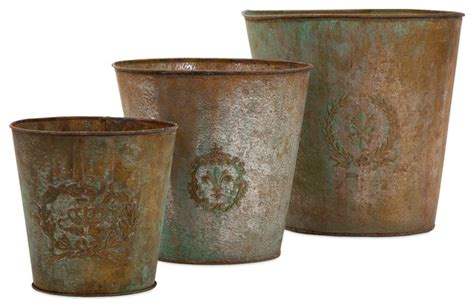 Rustic Flower Pots Planters by Vintage Metal Flower Pots Set Of 3 Rustic