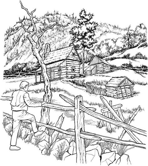 landscape coloring books for adults landscape coloring page