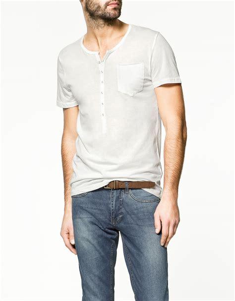 Zaraman Cotton Shirt zara button neck t shirt in white for lyst