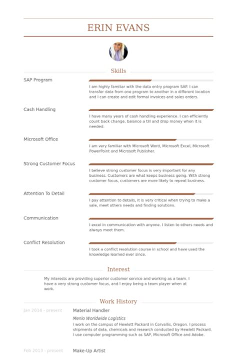Material Handler Resume Example Material Handler Resume Samples Visualcv Resume Samples