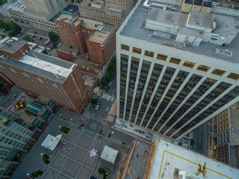 top view of buildings in downtown raleigh nc stock