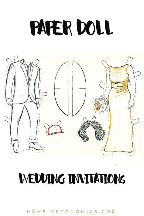 paper doll wedding invitations