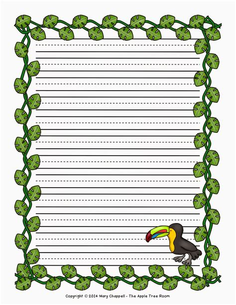 printable jungle writing paper the apple tree room getting them to write teaching