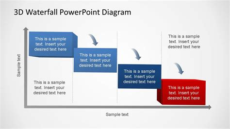 3d Generic Waterfall Powerpoint Diagram Slidemodel Powerpoint Waterfall Chart Template