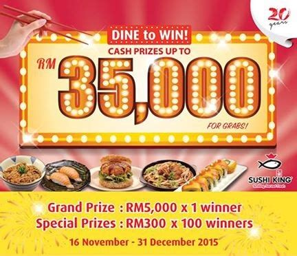 How To Win Money Sweepstakes - sushi king x hong leong bank dine to win cash prizes up to rm35 000 contests