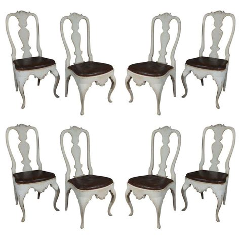 Rococo Dining Chairs Eight Scandinavian Rococo Dining Chairs At 1stdibs