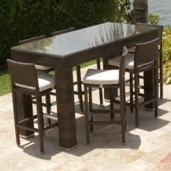 Patio Bar Table Dumont 7 All Weather Bar Height Dining Set By Leisure Select Family Leisure