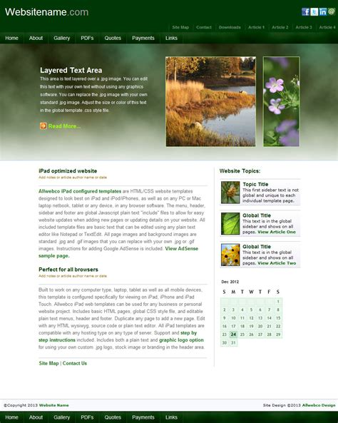 create templates for pages ipad iearth mobile friendly web templates sle image