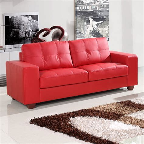 sofas for small areas small red leather sofas for vibrant small living area in