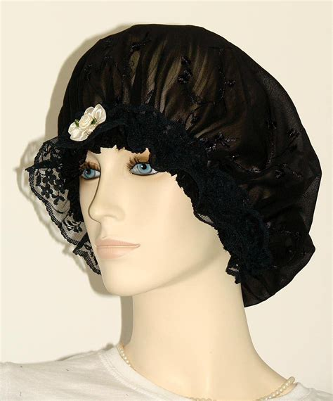 hair chiffon black floral embroidered chiffon hair bonnet pauljulia