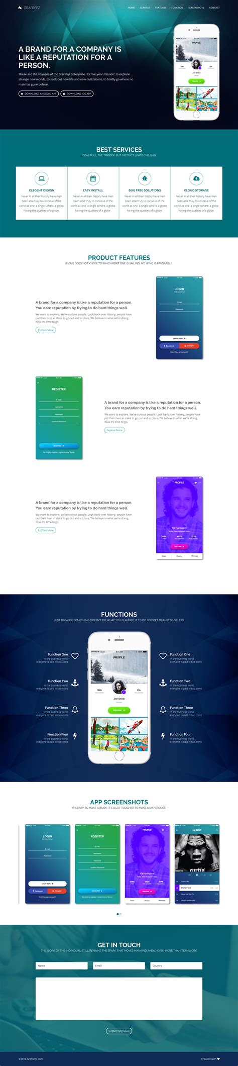 app landing page template free light free mobile app landing page template html by