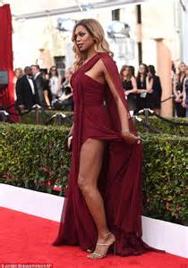 SAG Awards red carpet sees Laverne Cox in chiffon gown slit to the thigh   Daily Mail Online