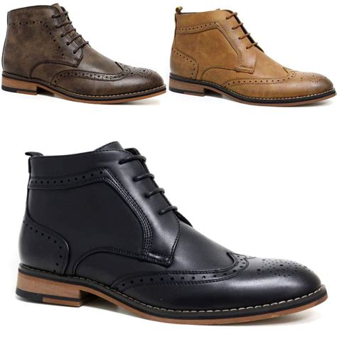 mens brouge boots mens cavani leather boots new smart formal brogue combat
