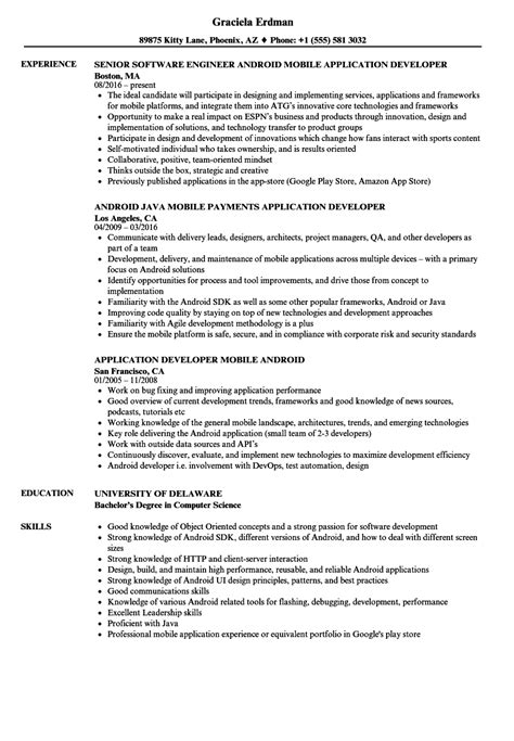 resume format for developer android application developer resume sles velvet