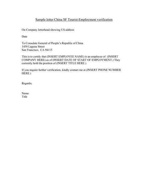 Confirmation Letter For Visa Application sle letter of employment certificate for visa