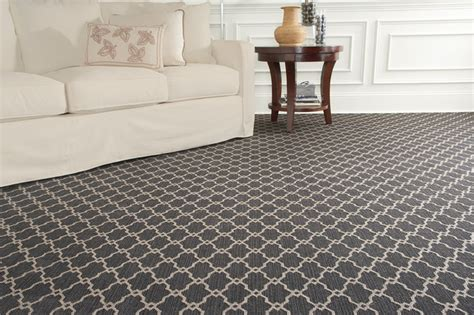 Living Room Silver Carpet Arabesque Patterned Whittier Wilton Contemporary
