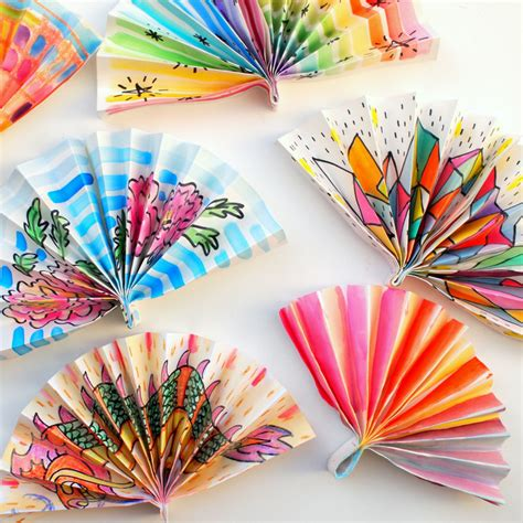 Paper Fan Craft For - watercolor painted paper fans pink stripey socks