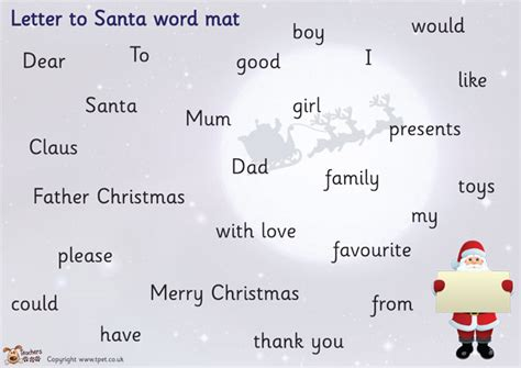 letter to santa template eyfs pet letter to santa word mat free classroom display resource