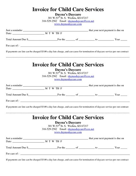 printable child care invoice child care receipt invoice home daycare business