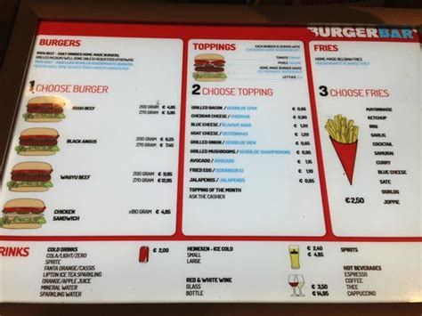 Top Bar Burger Menu by Menu Picture Of Burger Bar Amsterdam Tripadvisor