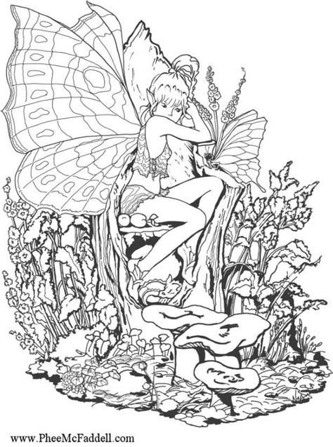 Coloring page forest fairy - img 6887.