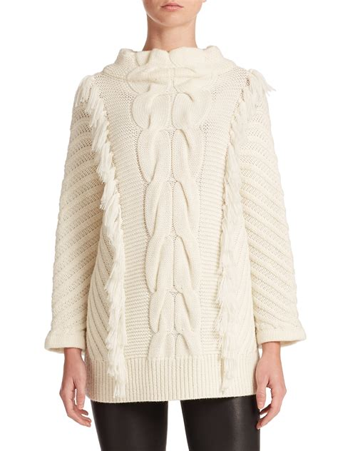 chunky cable knit sweater tess giberson chunky cable knit sweater in white lyst