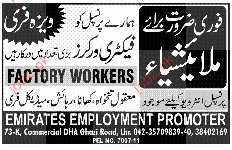 factory worker opportunity in malaysia 2019