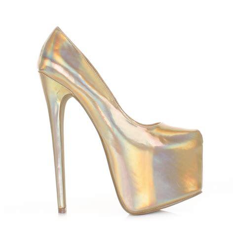 metallic high heel shoes womens hologram metallic high heel platform