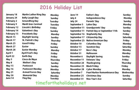 2016 holidays calendar from holiday insights 2016 holiday calendar time for the holidays