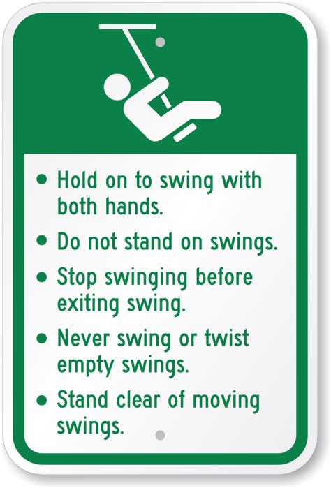 swinging rules playground rules signs parental supervision required signs