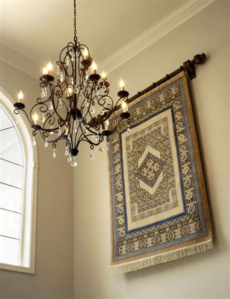 how to hang a rug on wall what width of curtain rod did you use for hanging the rug