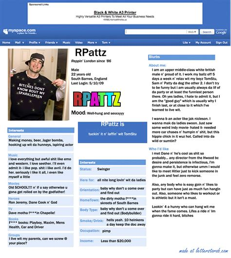Myspace Pages Of And by What If Rob Wasn T Nacho Edition Letters To Rob