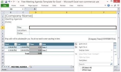 excel templates for meeting agenda free meeting agenda template for excel