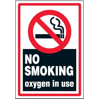 no smoking sign use no smoking oxygen in use label emedco