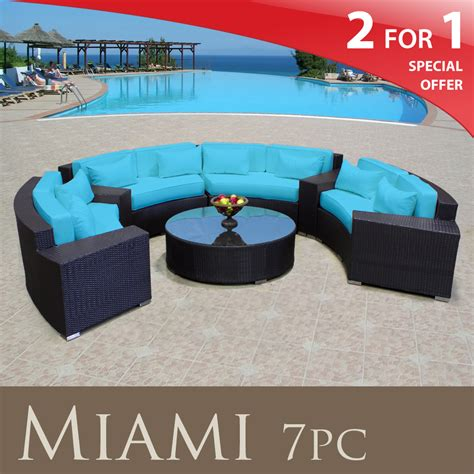 patio furniture blue miami outdoor furniture wicker patio 7pc set tropical blue free cover new ebay